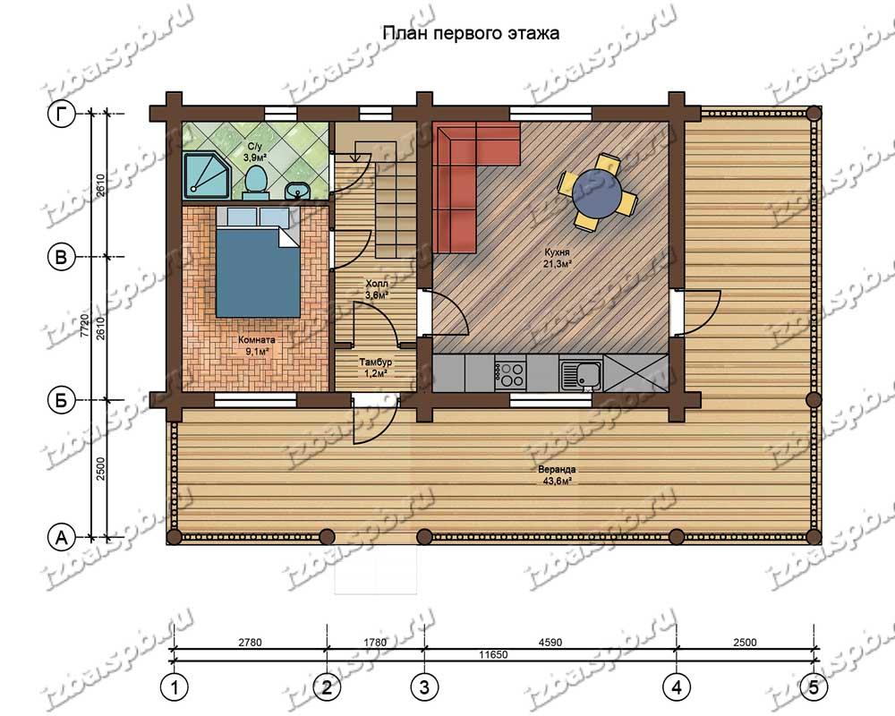 Проект-дома-из-бревна-Пастернак-план-1-этажа