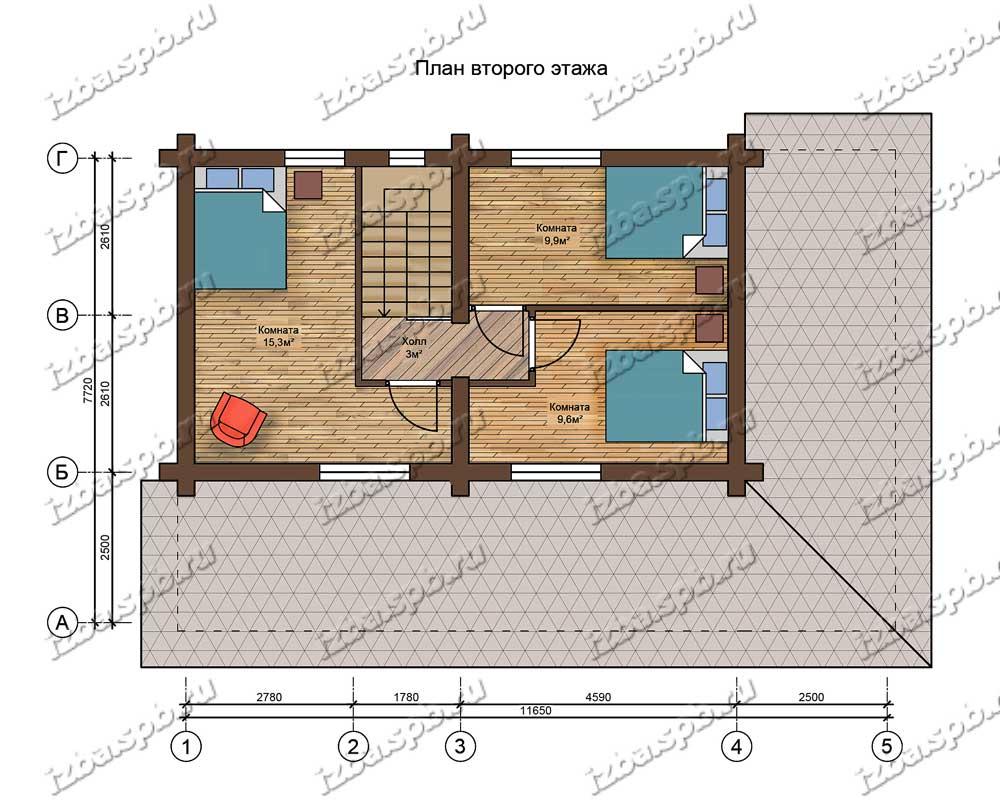 Проект-дома-из-бревна-Пастернак-план-2-этажа