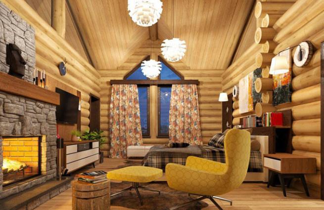 Дизайн-интерьера-в-домах-из-бревна-Изба