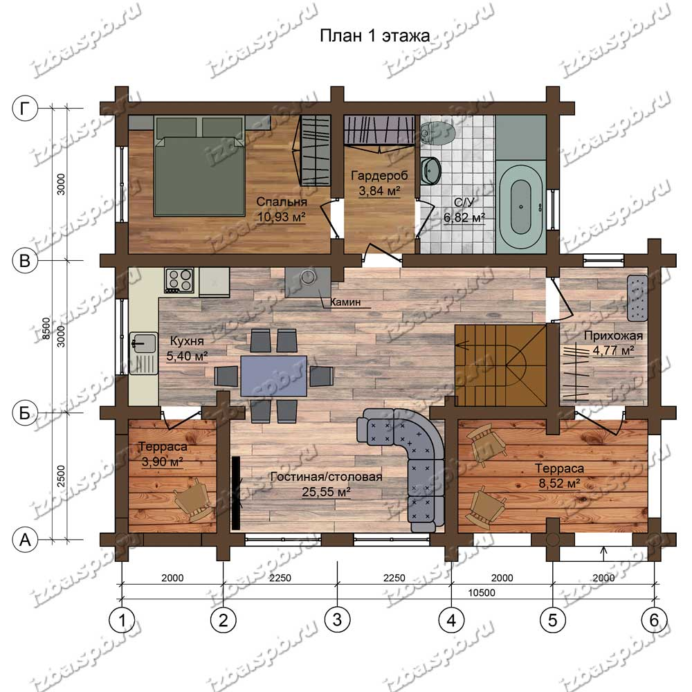 Проект-дома-из-бревна-Белинский-план-1-этажа