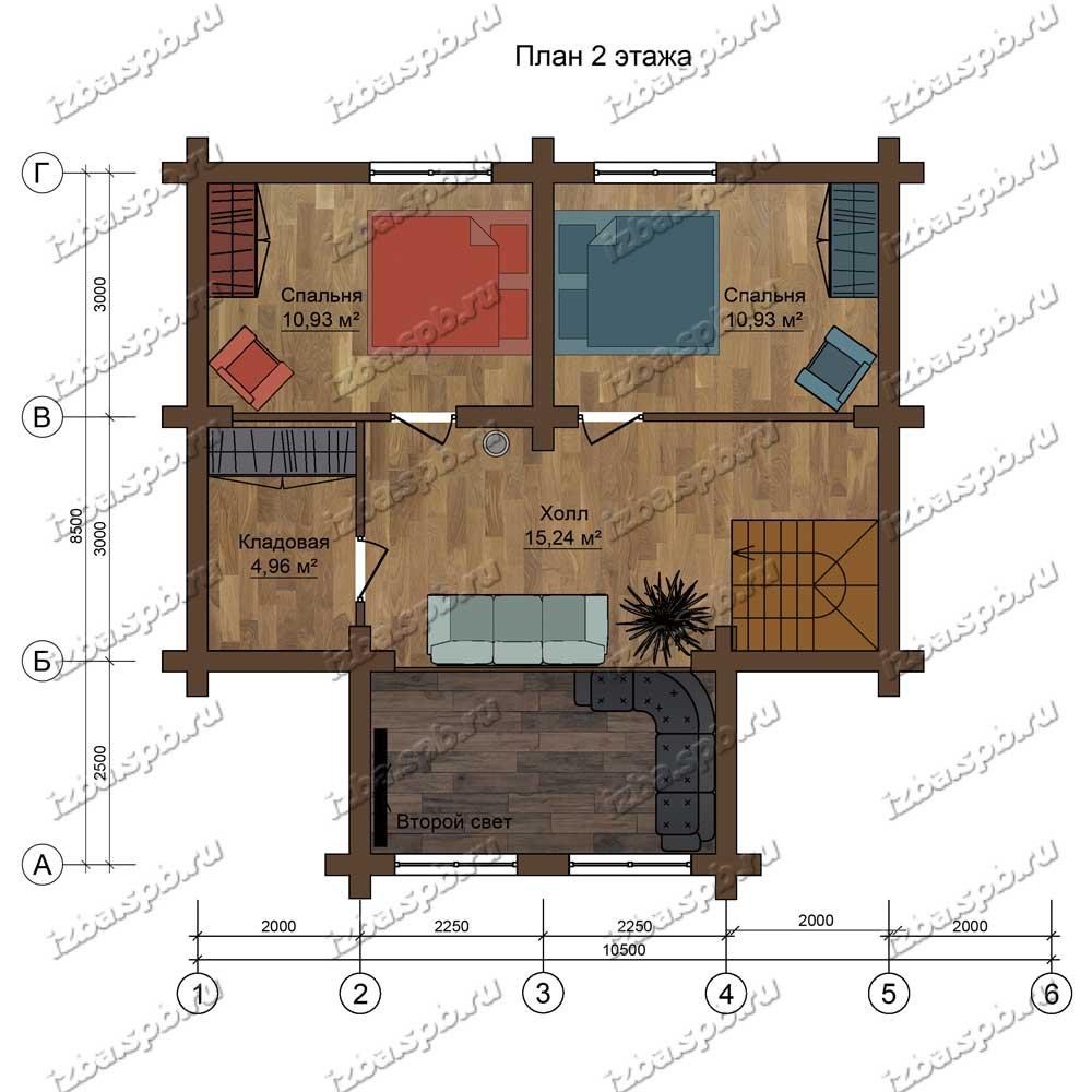 Проект-дома-из-бревна-Белинский-план-2-этажа