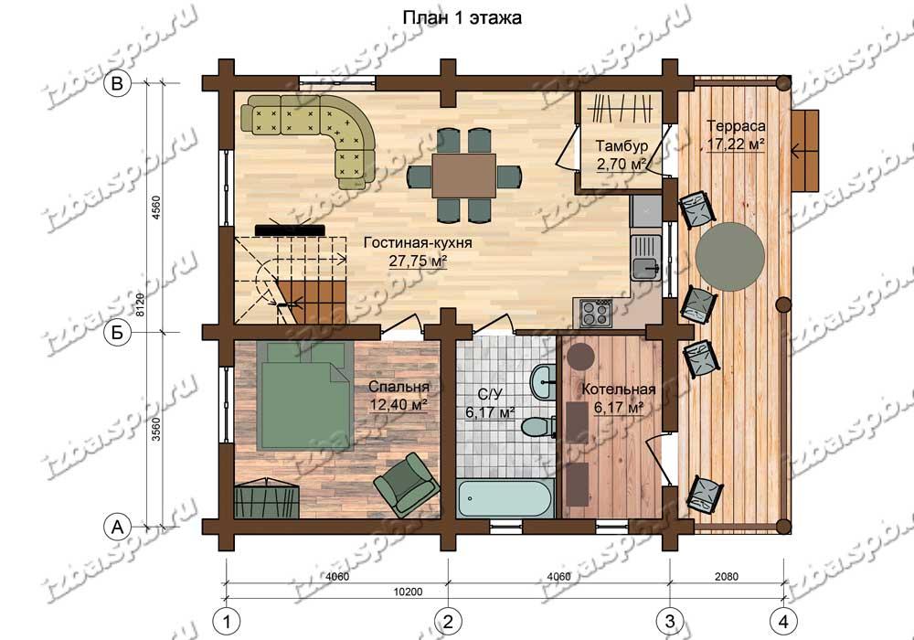 Проект-дома-из-бревна-Репин-план-1-этажа