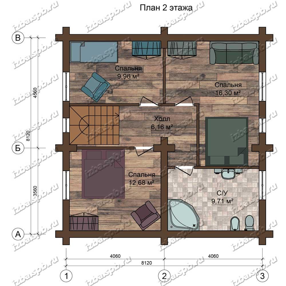 Проект-дома-из-бревна-Репин-план-2-этажа