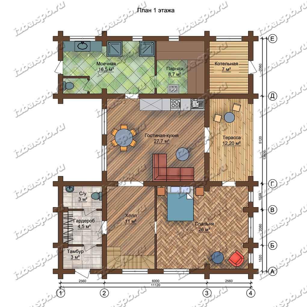Баня-из-бревна-Чехов,-план-1-этажа