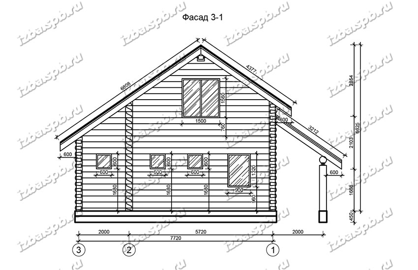 Дом-из-бревна-9х10,-вид-1-(проект-Н1191)