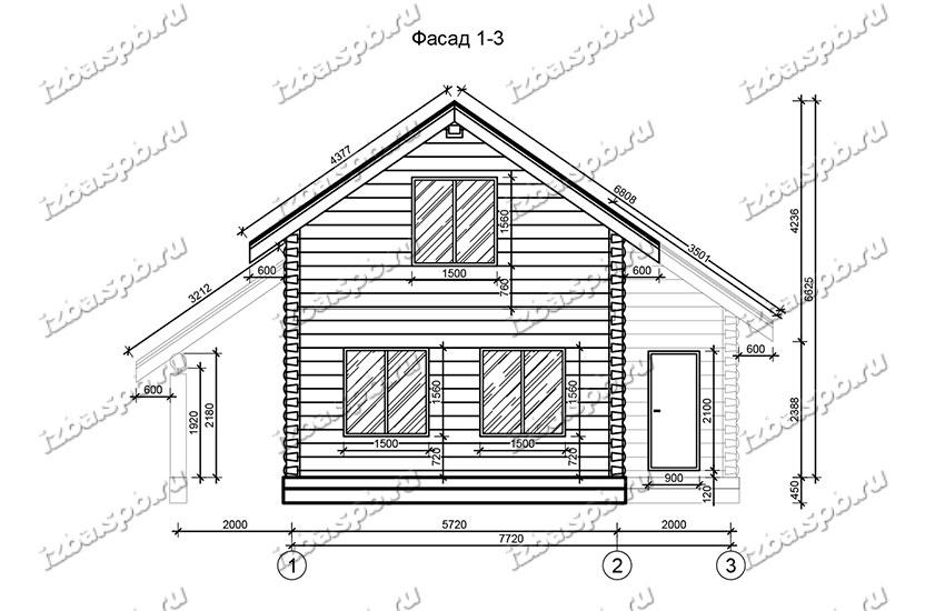 Дом-из-бревна-9х10,-вид-2-(проект-Н1191)