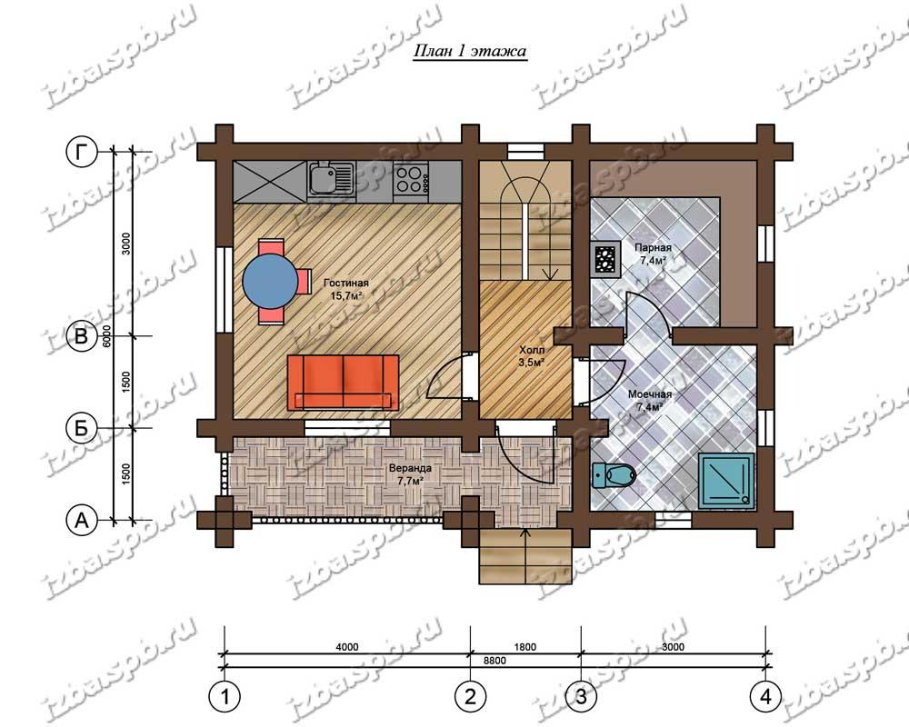 Проект-дома-бани-из-бревна-Пришвин-план-1-этажа