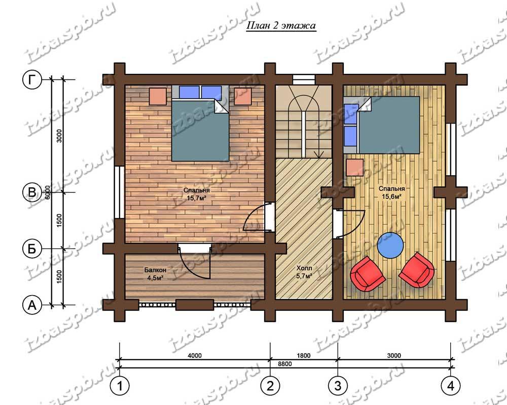 Проект-дома-бани-из-бревна-Пришвин-план-2-этажа