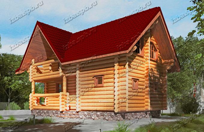Проект-дома-бани-из-бревна-Пришвин-вид-2