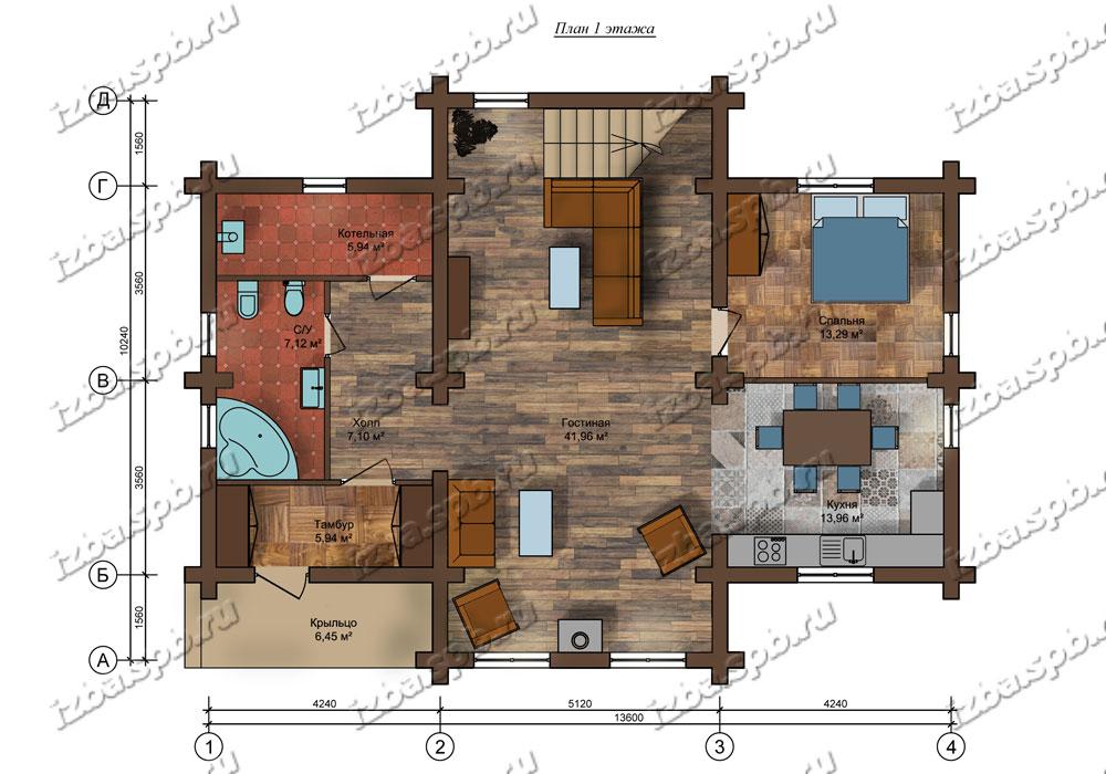 Проект-дома-из-бревна-Достоевский-план-1-этажа