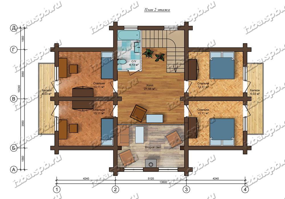 Проект-дома-из-бревна-Достоевский-план-2-этажа