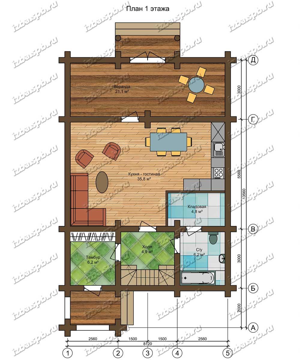 Проект-дома-из-бревна-Крылов-план-1-этажа