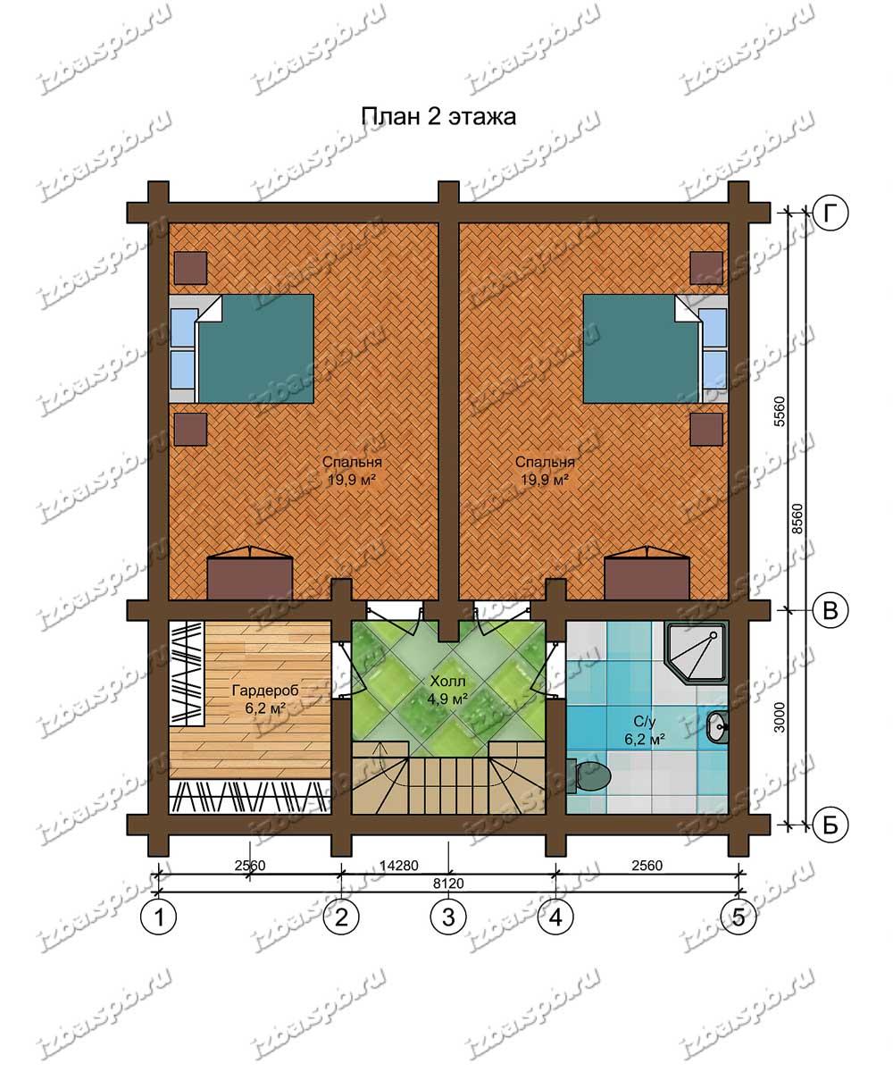 Проект-дома-из-бревна-Крылов-план-2-этажа