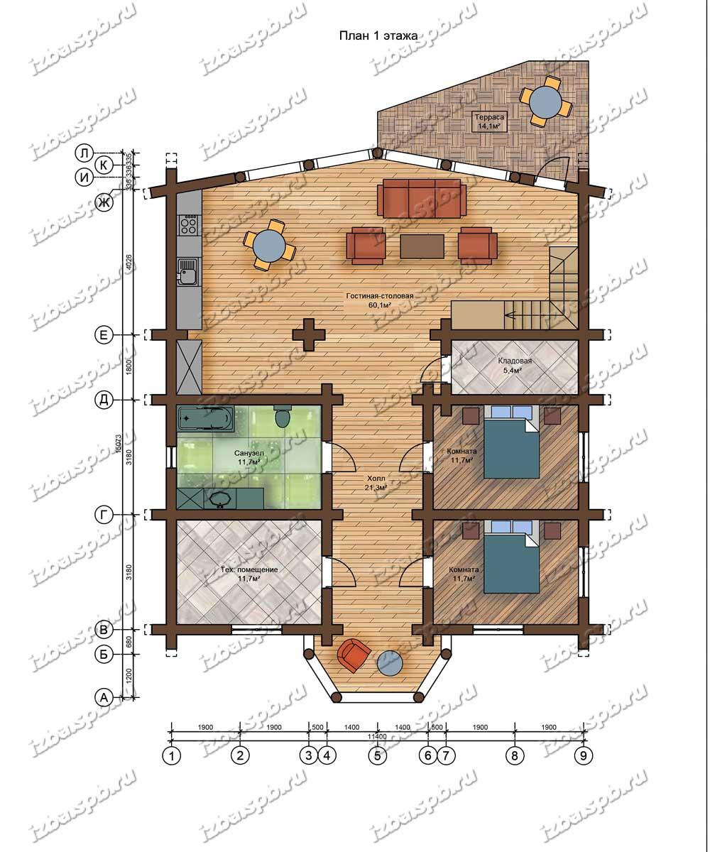 Проект-дома-из-бревна-Маяковский-план-1-этажа