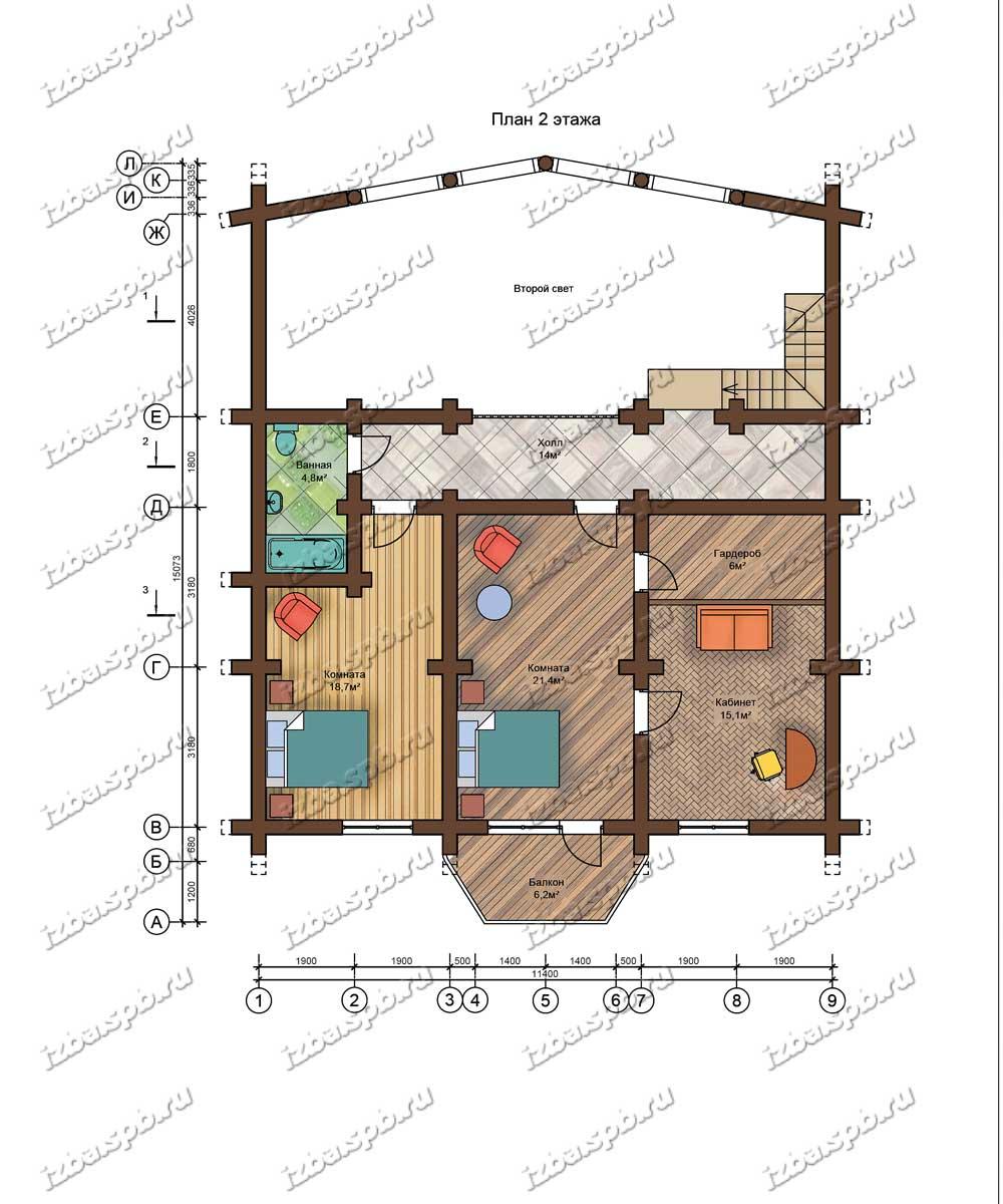 Проект-дома-из-бревна-Маяковский-план-2-этажа