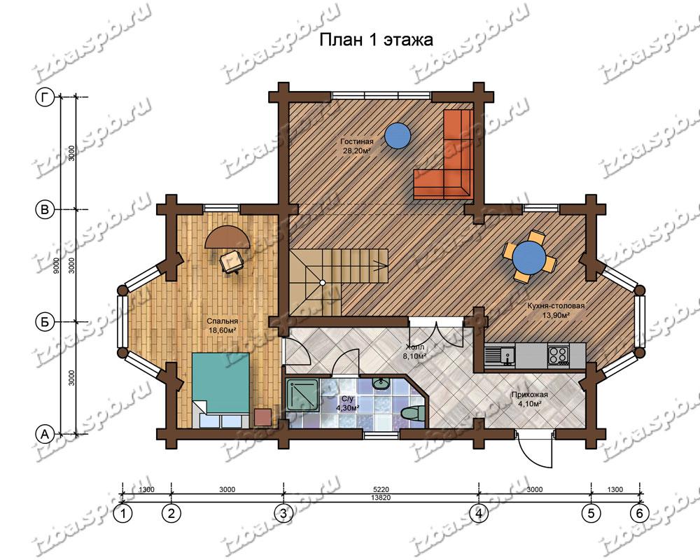 Проект-дома-из-бревна-Пушкин-план-1-этажа