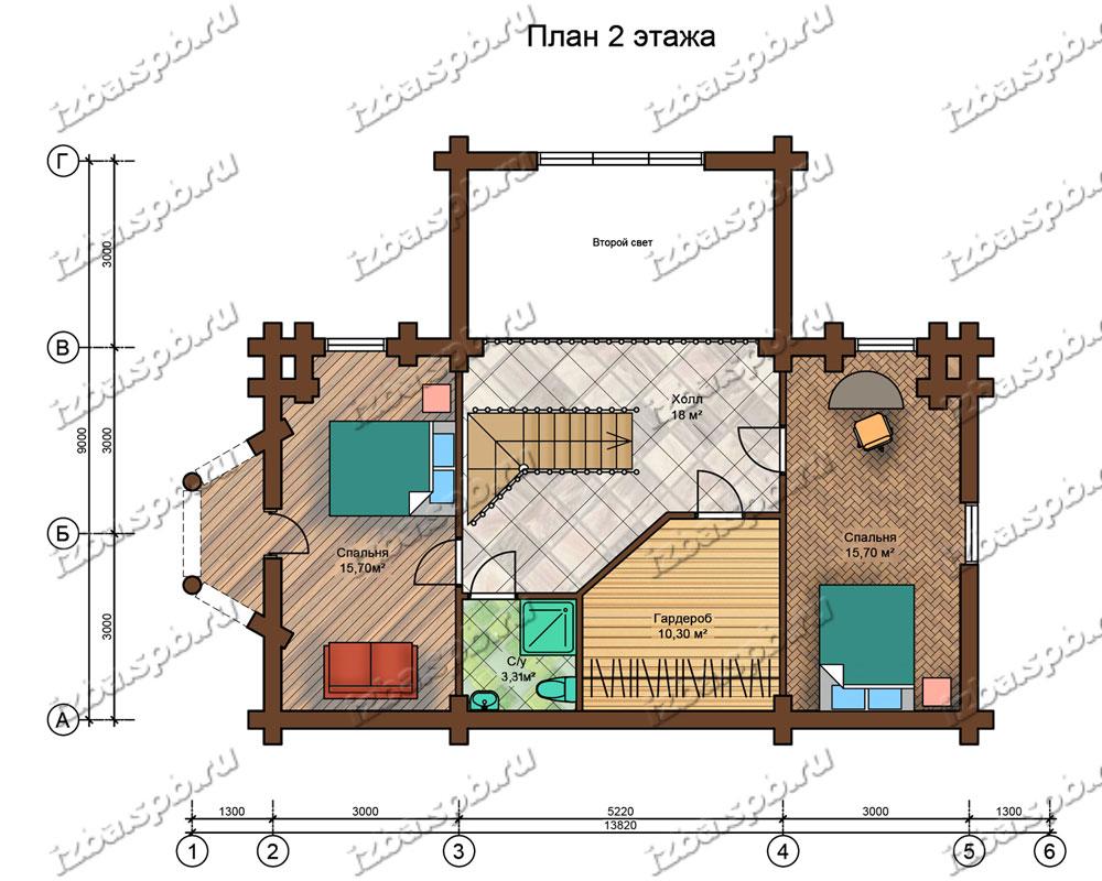 Проект-дома-из-бревна-Пушкин-план-2-этажа