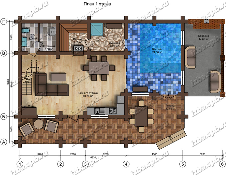 Проект-дома-из-бревна-Рахманинов,-план-1-этажа