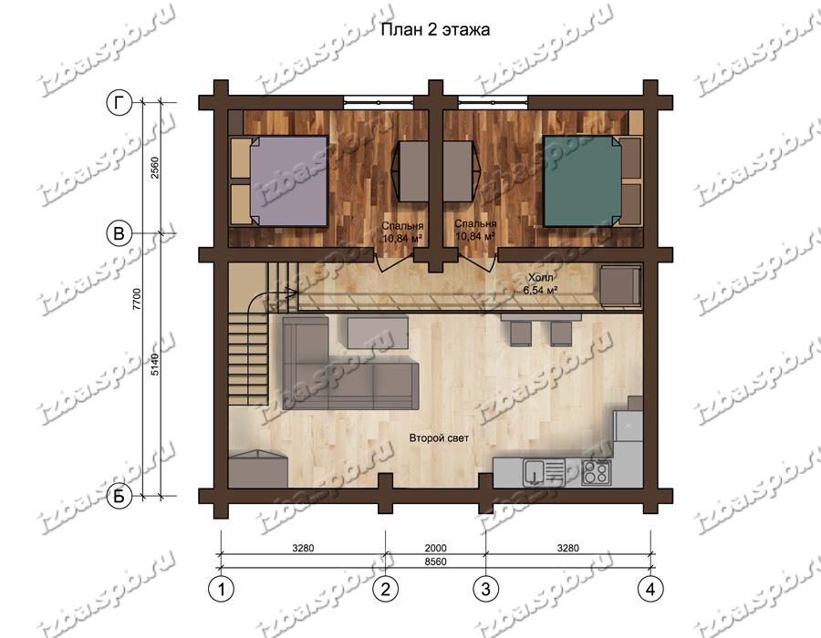 Проект-дома-из-бревна-Рахманинов,-план-2-этажа