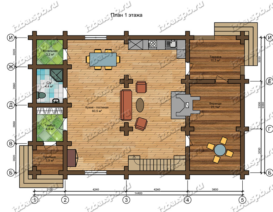 Проект-дома-из-бревна-Распутин-план-1-этажа