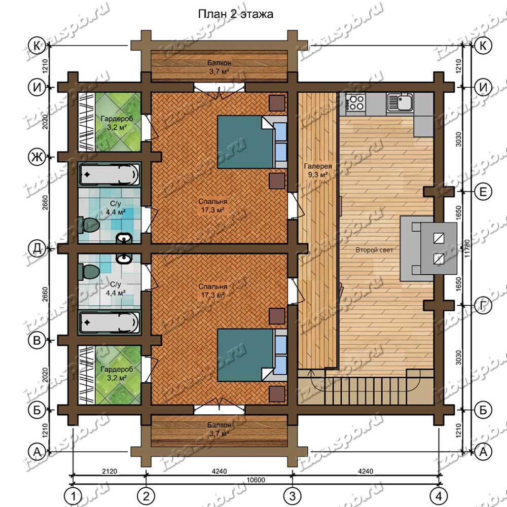 Проект-дома-из-бревна-Распутин-план-2-этажа