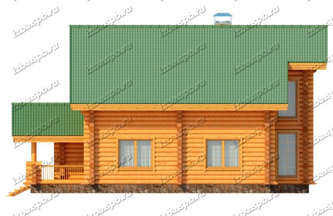 Проект-дома-из-бревна-Рылеев,-фасад1
