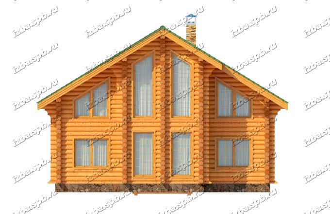 Проект-дома-из-бревна-Рылеев,-фасад2
