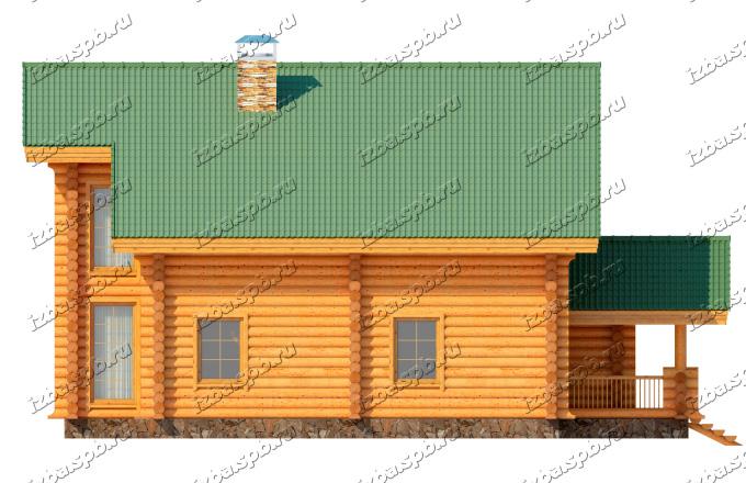 Проект-дома-из-бревна-Рылеев,-фасад3