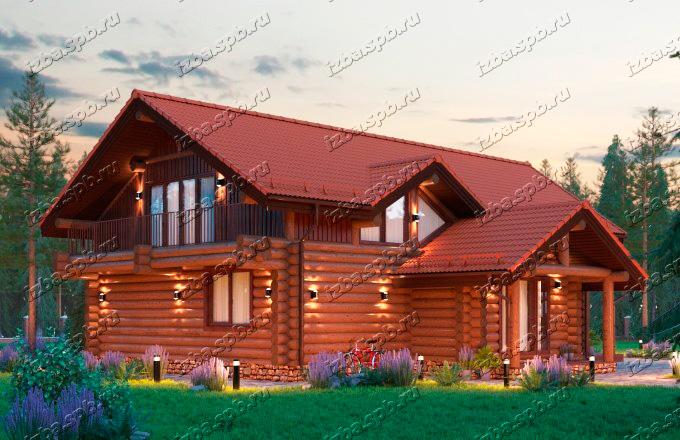Проект-дома-из-бревна-Шолохов-вид-2