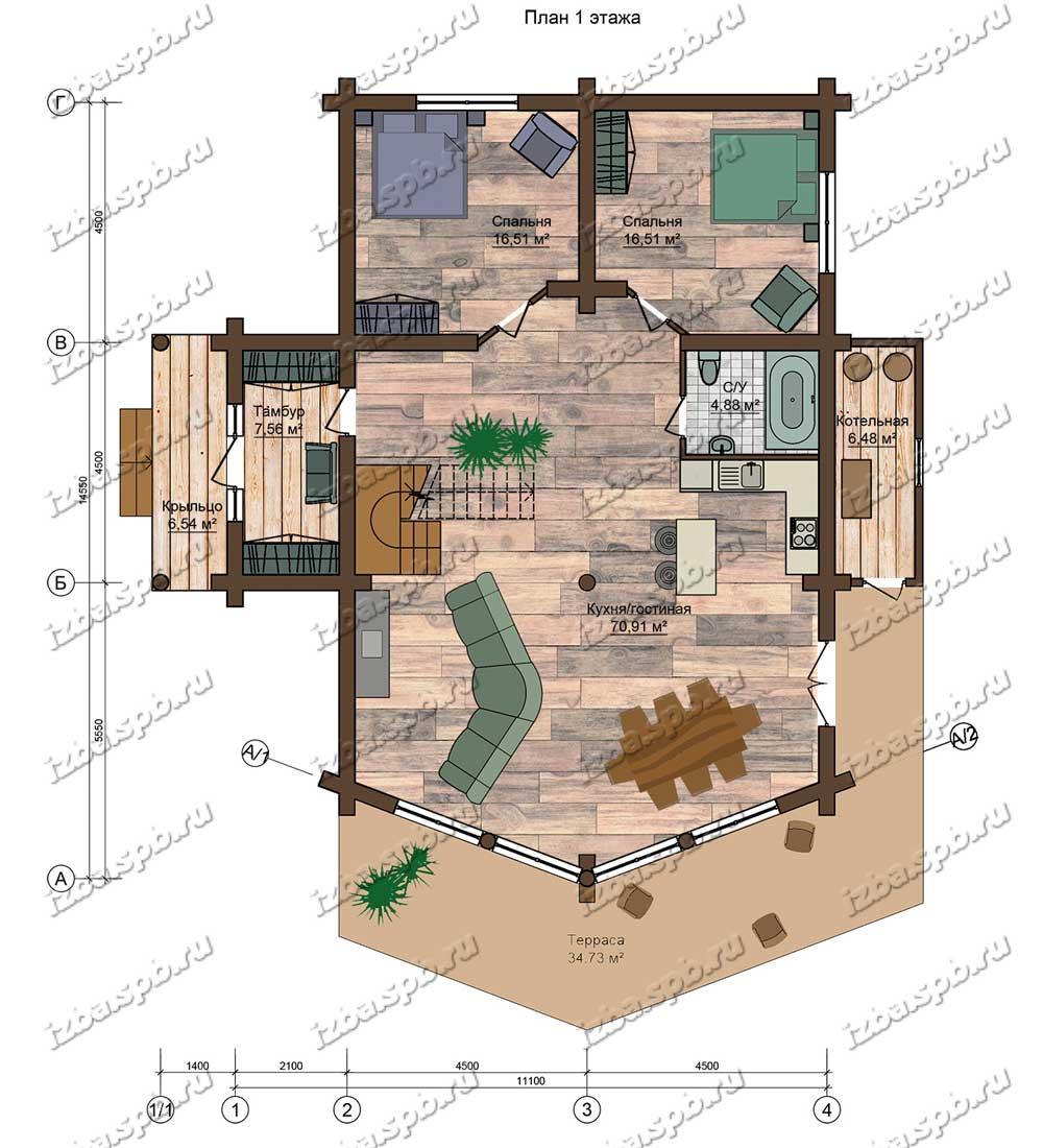 Проект-дома-из-бревна-Шолохов,-план-1-этажа