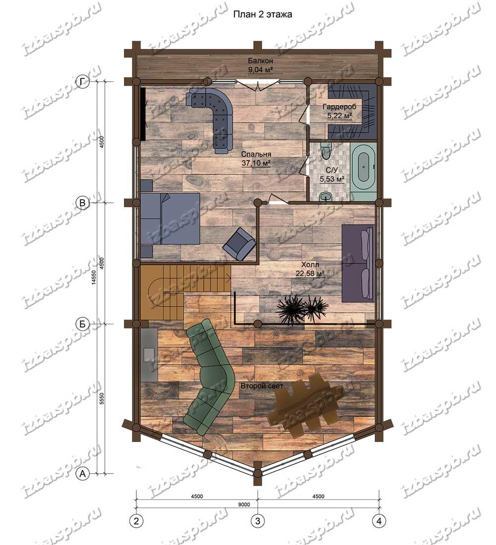 Проект-дома-из-бревна-Шолохов,-план-2-этажа