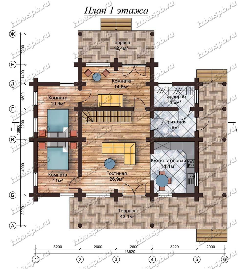 Проект-дома-из-бревна-Солженицын,-план-1-этажа