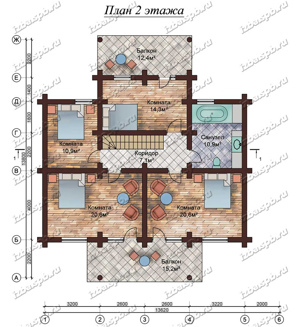 Проект-дома-из-бревна-Солженицын,-план-2-этажа
