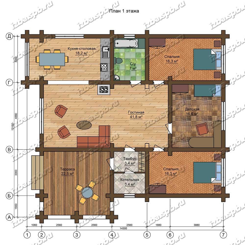 Проект-дома-из-бревна-Твардовский,-план-1-этажа