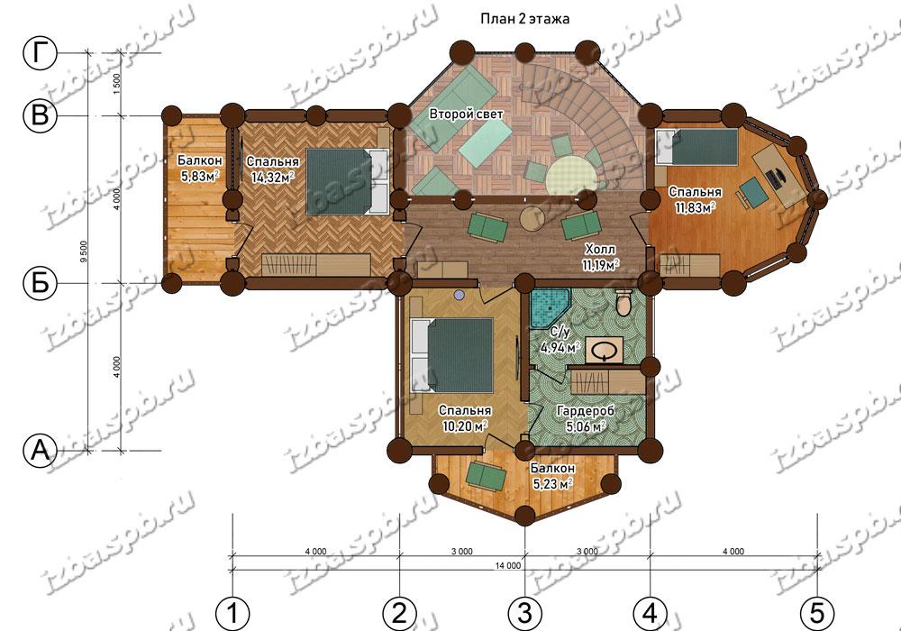 Проект-дома-из-бревна-Беляев-план-1-этажа.