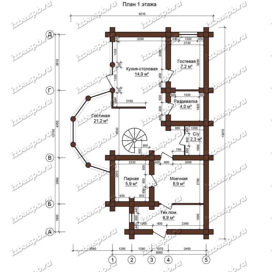 Баня-из-бревна-9х14-план-1-этажа-(проект-Л129)