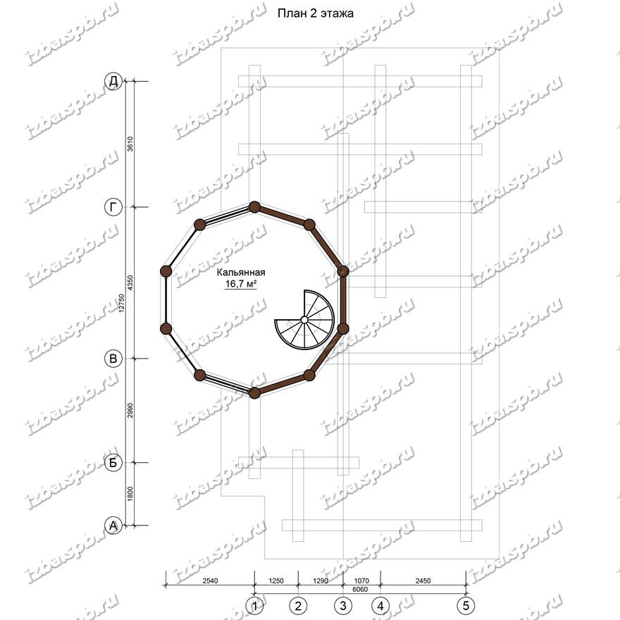 Баня-из-бревна-9х14-план-2-этажа-(проект-Л129)
