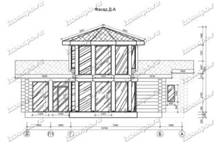 Баня-из-бревна-9х14-вид-1-(проект-Л129)