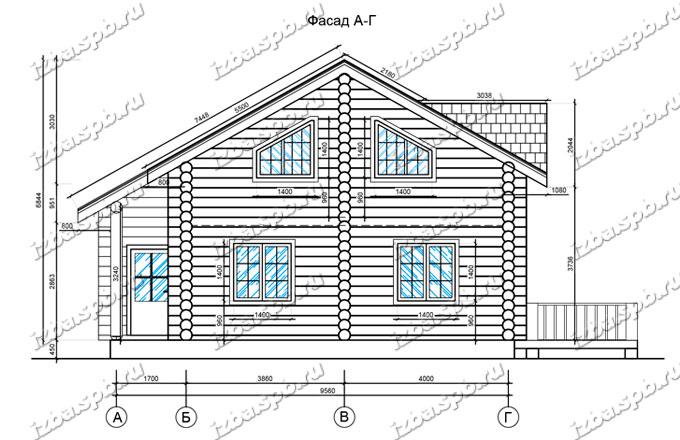 Дом-из-бревна-10х10-вид-1-(проект-Л53)-