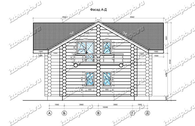 Дом-из-бревна-11х14,5-вид-2-(проект-Н1161)-