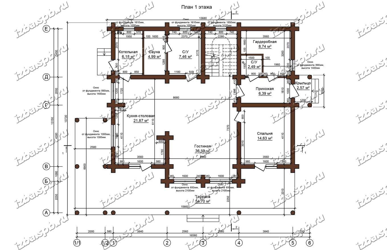 Дом-из-бревна-14х17-план-1-этажа-(проект-Н211-дом)