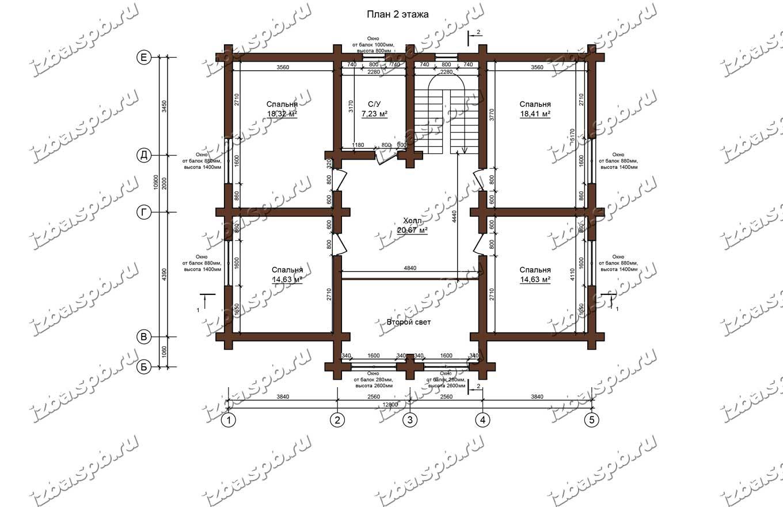 Дом-из-бревна-14х17-план-2-этажа-(проект-Н211-дом)