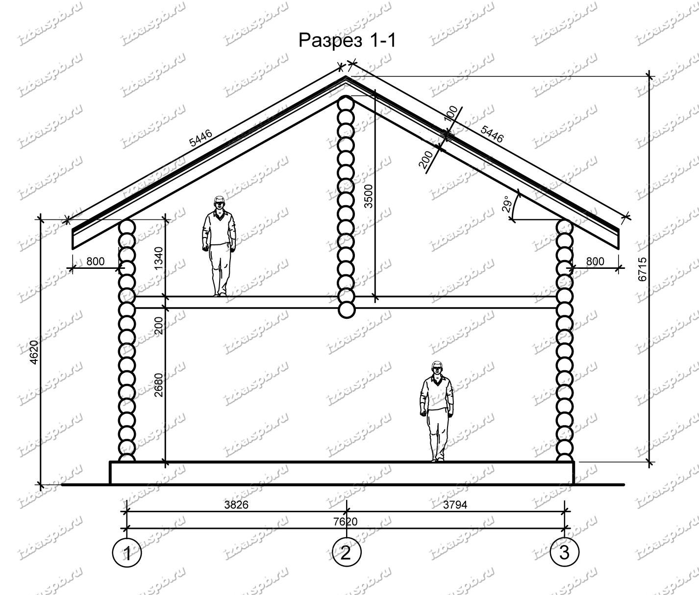 Дом-из-бревна-9х10-разрез-(проект-Ф293)