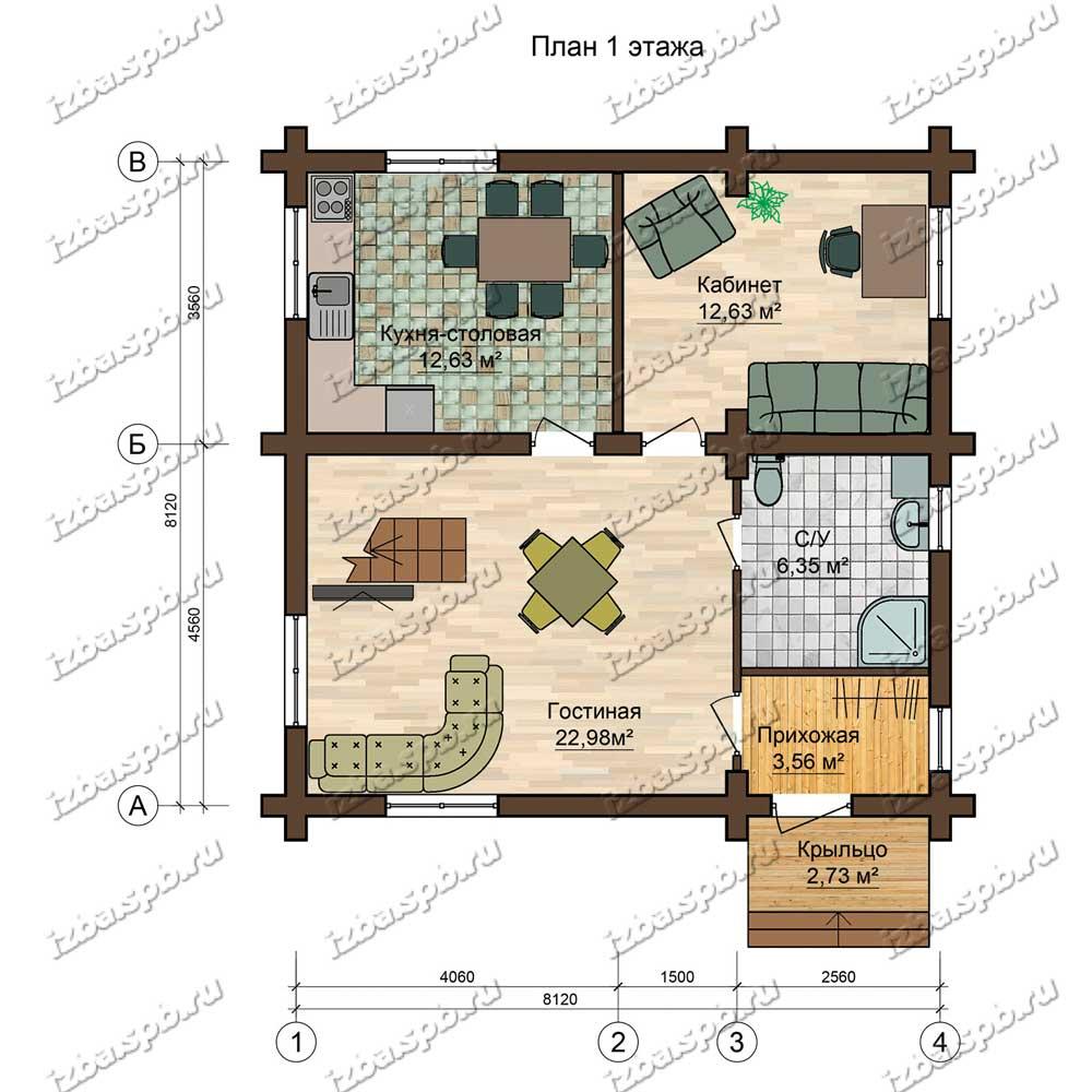 Проект-дома-из-бревна-9х9-план-1-этажа