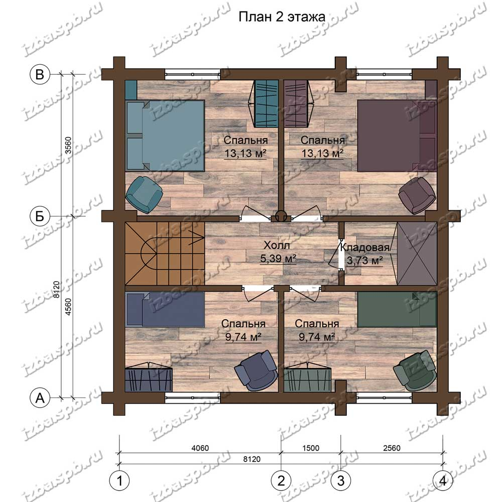 Проект-дома-из-бревна-9х9-план-2-этажа
