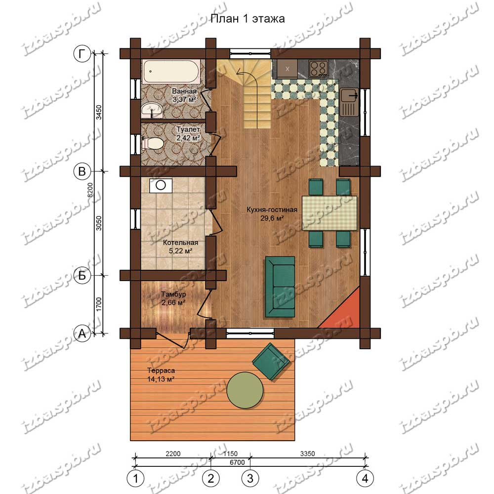 Проект-дома-из-бревна-Данте-план-1-этажа