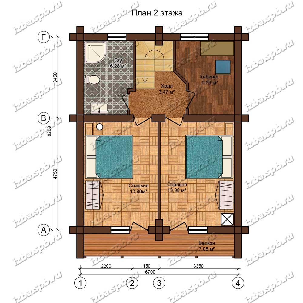 Проект-дома-из-бревна-Данте-план-2-этажа
