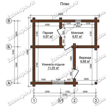 Баня-из-бревна-6х6-планировка-(проект-Н222)