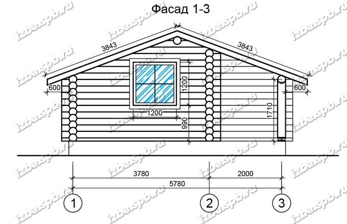 Баня-из-бревна-6х6-вид-1-(проект-Н222)
