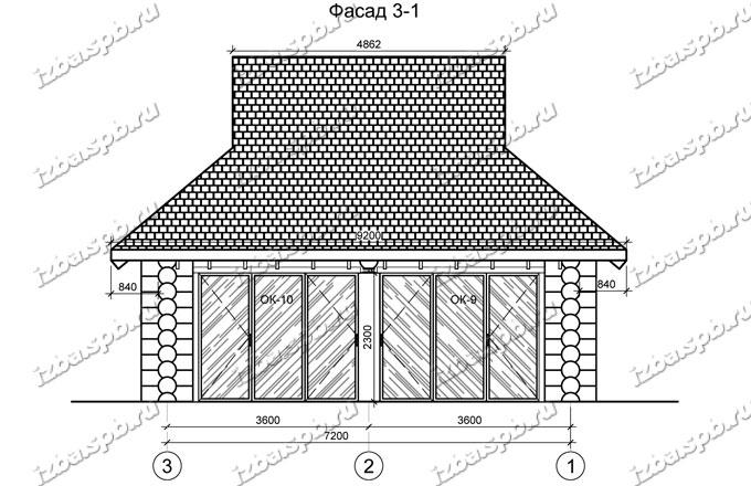 Беседка-из-бревна-7х8-вид-3-(проект-Н637)-